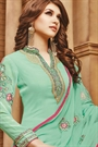 Beautiful Sea Green Embroidered Georgette Palazzo Suit