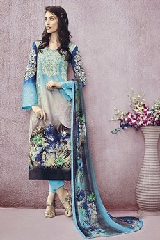 Blue Lawn Printed Straight Cut Salwar Suits
