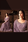 Lilac Purple Thread Embroidered Net Floor-Length Anarkali Gown