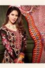 Light Tan Brown and Black Printed Crepe Straight Style Salwar Suit