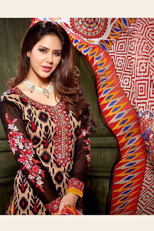 Beige and Black Crepe Printed Straight style Salwar Suit