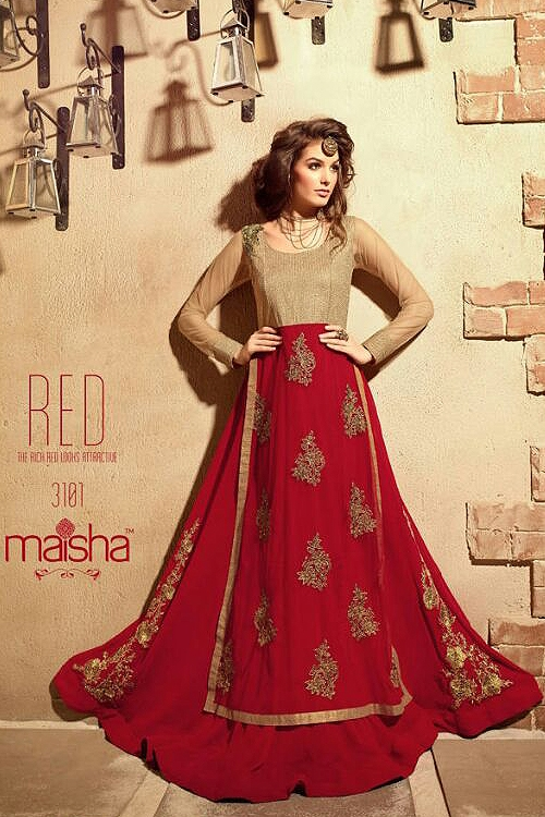 Red Maisha Pure Georgette With Heavy Embroidery Designer Anarkali Suits