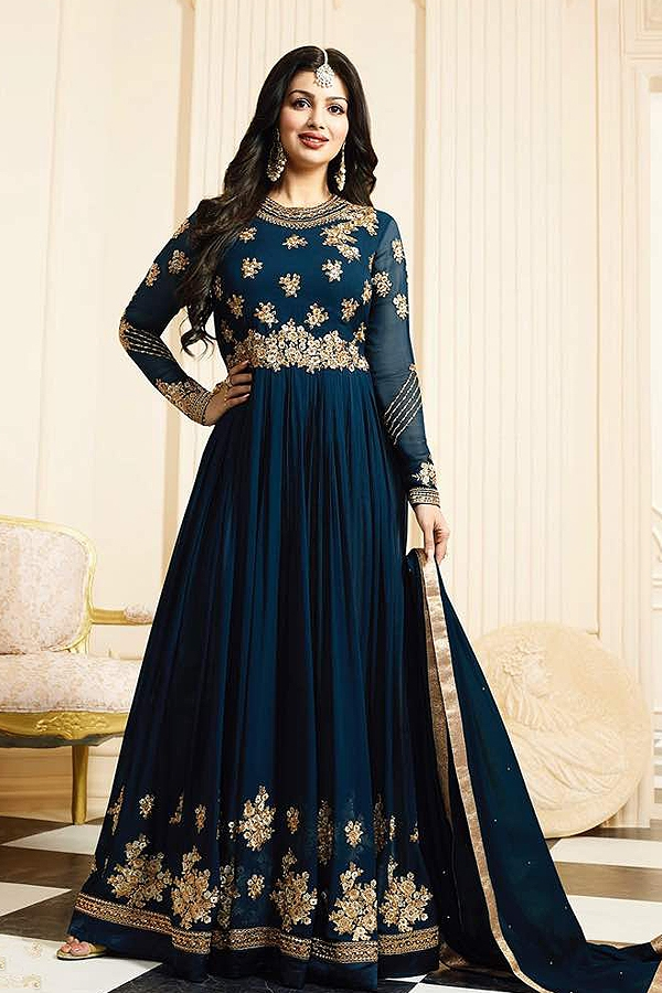 Elegant Teal Blue Anarkali Suit in Georgette with Chiffon Dupatta