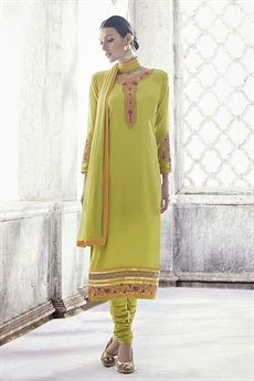 Ayka Designer Georgette Straight Cut Churidar Suit In Olive Green
