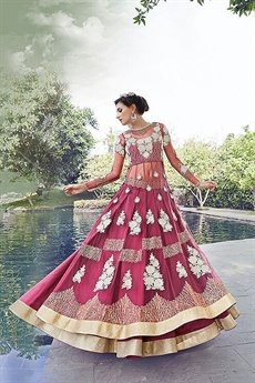 Fuchsia Zoya Pure Net With Heavy  Embroidery Anarkali Suits