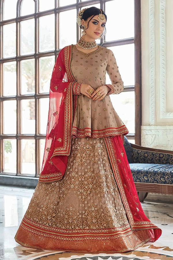 Beautiful Coffee Brown Zari Work Net Radiant Red Lehenga