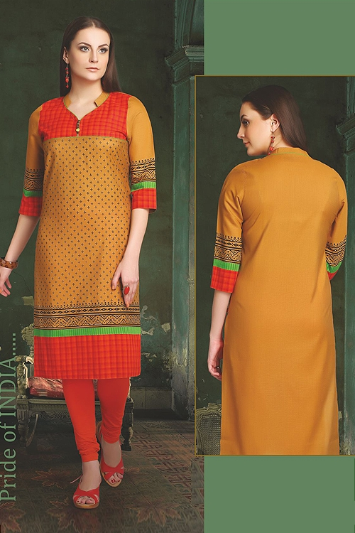 Elegant Cotton Kurti In Mustard