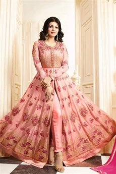 Elegant Floral Pink Embroidered Anarkali Suit in Georgette