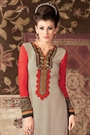 Beige and Red Printed French Crepe Straight Long Salwar Suit