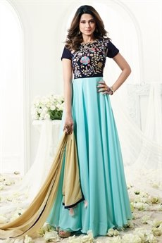 Turquoise Blue Floral Thread Embroidered Floor Length Anarkali Suit