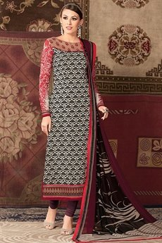 Raaga Multicolor embroidered and printed straight long suit