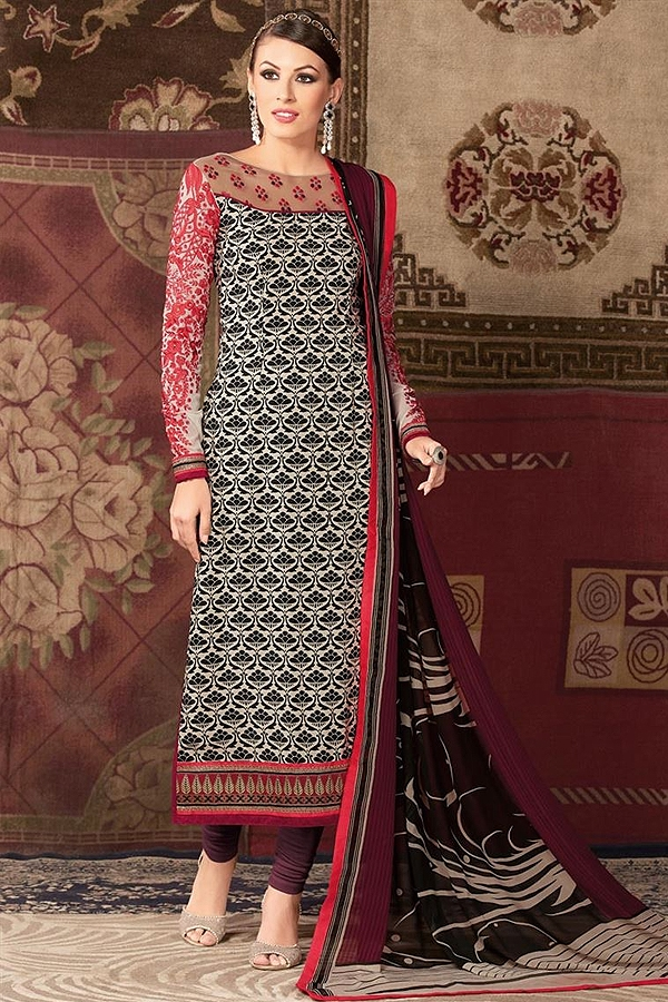 Multicolor embroidered and printed straight long suits