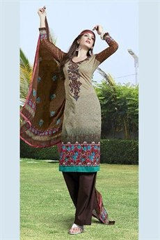 Pure Cotton Printed Salwar Kameez in Brown Color