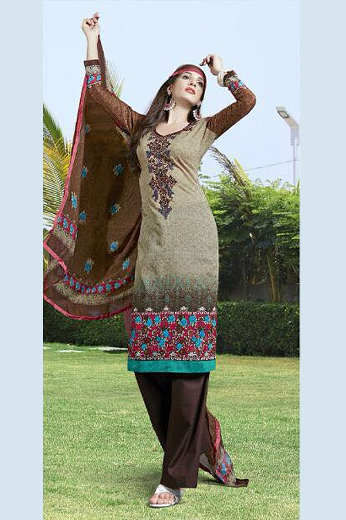 Jassi Pure Cotton Printed Suits With Neck Embroidery  Brown