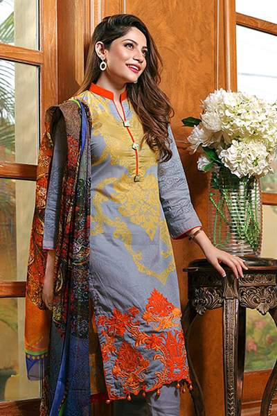 Bollywood Dark Pastel Blue Embroidered Glace Cotton Suit With Digital Printed Dupatta