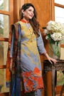 Grey Salwar Suit with Embroidery in Glace Cotton Suit With Digital Print Dupatta