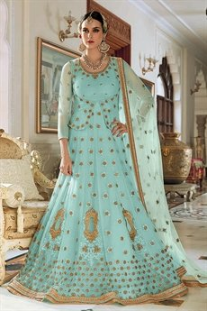 Beautiful Electric Blue Resham Embroidered Net Lehenga/Anarkali Suit