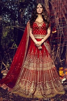 Royal Blood Red Bhagalpuri silk lehenga