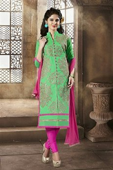 Shamrock Green Chanderi Cotton Churidar Salwar Kameez Suit