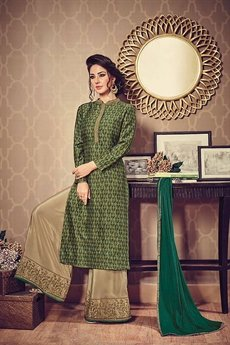 Olive Green Beige Embroidered Palazzo Suit
