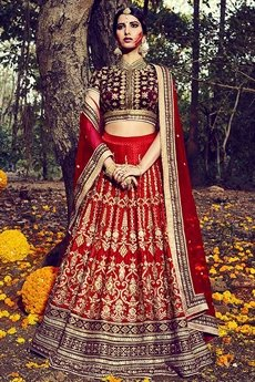 Luxe Wine and Red silk lehenga