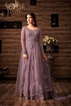 Lilac Purple Floor-Length Embroidered Anarkali Gown