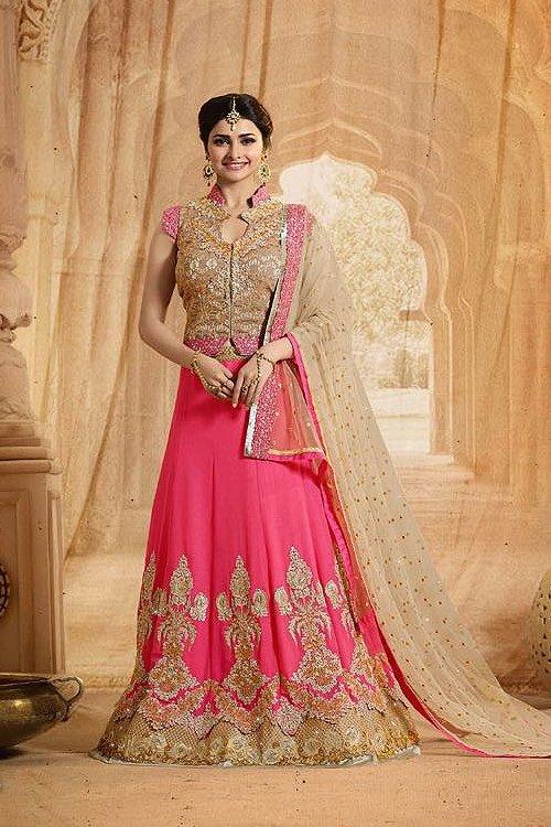 Elegant Pink and Beige heavy Embroidered Lehenga set