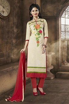 Sanskruti Elegant Chanderi Cotton Churidar Suits With Embroidery Off White & Red