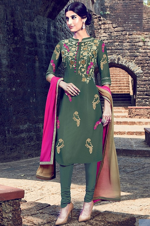 Olive green embroidered sequined suit with triple shade dupatta