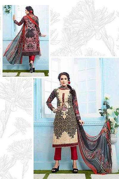 Beautiful Casual Wear Printed Straight Cut Beige Color Suit