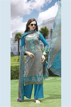 Jassi Pure Cotton Printed Suits With Neck Embroidery Blue