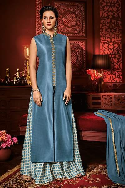 Pastel Blue White Designer Front Slit Salwar Kameez Palazzo Suit