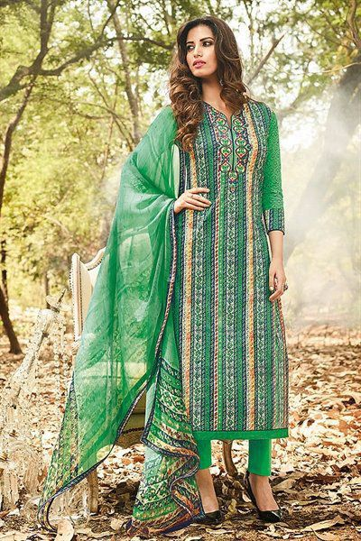 Beautiful Smart Green Printed Cotton Suit