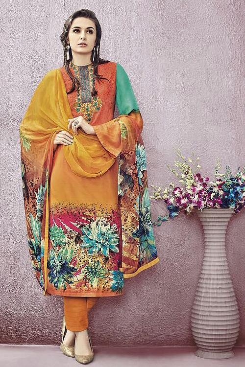 Orange Jinaam Pure Cotton Printed Straight Cut Lawn Salwar Suit