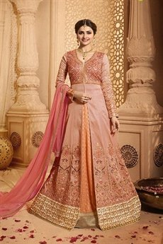 Glamorous and Elegant Pink Peach lehenga Anarkali set