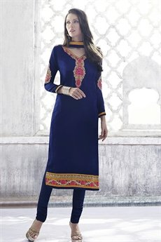 Royal Blue Georgette Straight Cut Churidar Suit