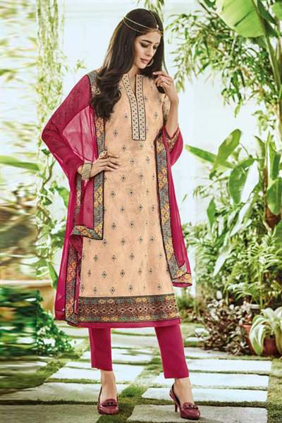 Beige Printed Pure Georgette Straight Cut Salwar Suit
