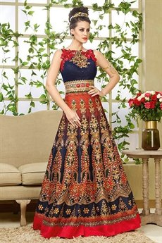 Stunning Navy blue and red lehenga Anarkali suit.