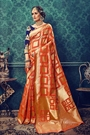 Burnt Orange Art Silk Designer Saree