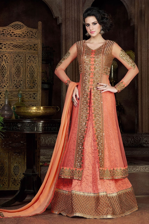 Swagat Peach Color Violet Heavy Embroidery  Anarkali Suits
