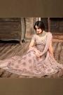 Millennial Pink Embroidered Net Floor Length Anarkali Gown