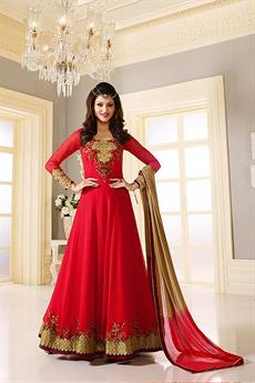 Luxe Crimson Red Gold Embroidered Georgette Designer Anarkali suit