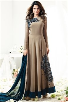 Beige And Teal Velvet Embroidered Georgette Floor Length Anarkali Suit