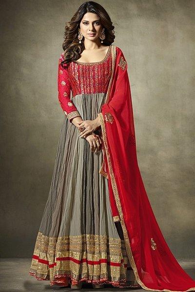 Designer Anarkali Suit In Grey Red Crushed Georgette