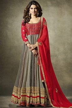 Grey Red Crushed Georgette Floor Length Anarkali Suit