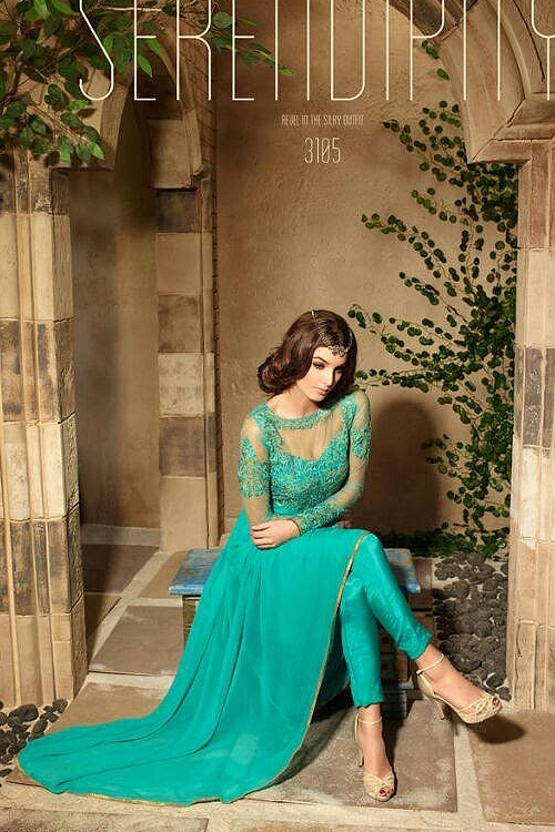 Turquoise Blue Colour Georgette Embroidery Designer Anarkali Suit