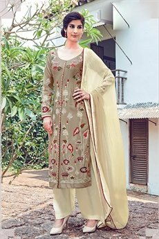 Beige Embroidered Palazzo Salwar Kameez Suits