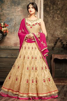 Golden Floral Embroidered Net Floor Length Layered Anarkali Suit