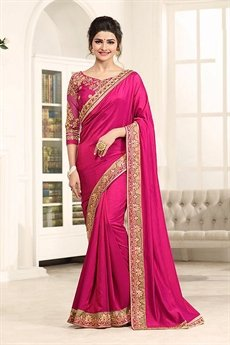 Pink Glam Silky Satin Saree