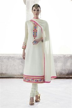 Ayka Designer Georgette Straight Cut Churidar Suit In Off White